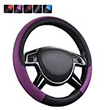 wheel cover for women - CAR PASS NEW ARRIVAL Rhombus Leather Universal Steering Wheel Cover, Perfect fit for vehicles,Suv(Black And Purple)