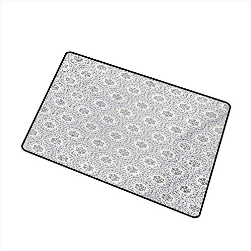 Outdoor Door mat Floral Scroll Style Pattern with Curled Leaf Motifs Abstract Modern Mosaic Tile W24 xL35 Quick and Easy to Clean