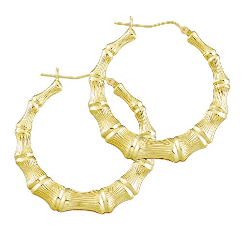 10K Gold Round Bamboo Hollow Hoop Earrings 1 11/16 Inch GB13