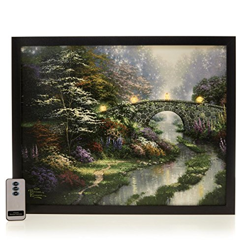 (TK Thomas Kinkade Stillwater Bridge Fiber Optic Lit Canvas Art With)