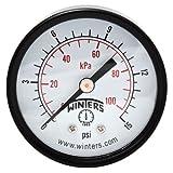 """Winters PEM Series Steel Dual Scale Economy Pressure Gauge, 0-15 psi/kpa, 2"""" Dial Display, -3-2-3% Accuracy, 1/8"""" NPT Center Back Mount"""