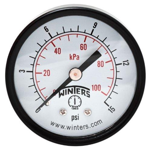 Winters PEM Series Steel Dual Scale Economy Pressure Gauge, 0-15 psi/kpa, 2