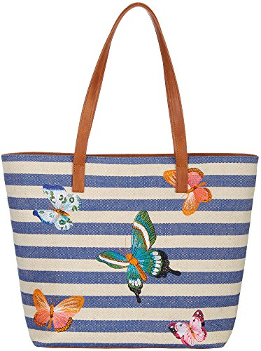 Bueno Embroidered Butterfly Tote Handbag One Size Blue multi