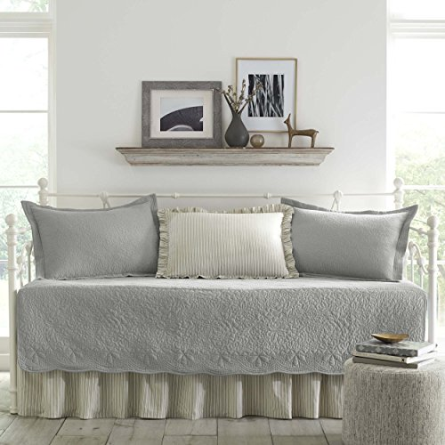 Country Set Daybed - Stone Cottage 5-Piece Daybed Cover Set, Trellis Gray