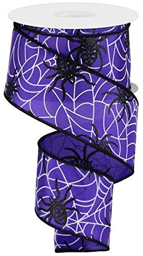 Spiders & Webs on Satin Wired Edge Ribbon, 10 Yards (Purple, -
