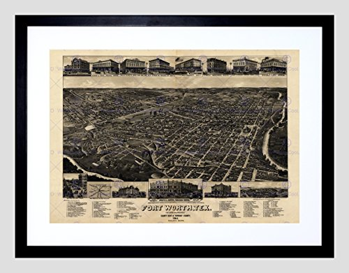 MAP FORT WORTH TEXAS 1886 VINTAGE FRAMED ART PRINT POSTER F12X10072 - Fort Worth Map