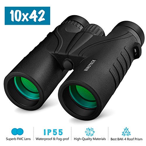 Binoteck 10x42 Binoculars for Adults - Professional HD Roof BAK4 Prism Lens Binoculars for Bird Watching, Hunting, Travel, Sports, Opera, Concert, with Carrying Bag (1.0 lbs)