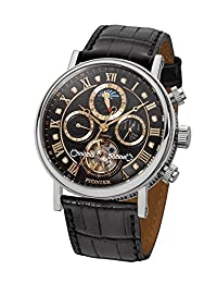 """Pionier - high quality automatic wrist watch Chicago """"Silver Black Leather"""" stainless steel with italian leather strap, two year warranty - 35 Jewels - Made in Germany"""