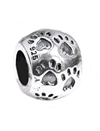 .925 Sterling Silver Dog Paw Puppy Love Heart Foot Print Round Bead For European Chamilia Biagi Troll Pandora Charm Bracelets