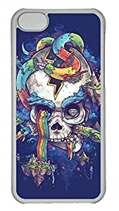 Hard Platic Transparent PC Case Shell for iPhone 5C,Art Skull Blue Case for iPhone 5C Case