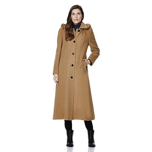 De La Crème - solo pecho desmontable capucha de piel de invierno de lana Gabardina larga Invierno