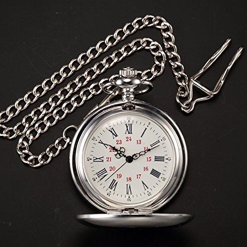 AMPM24 Vintage Silver Men's Women Ladies Quartz Pendent Pocket Watch Clock Chain Gift WPK027 by AMPM24 (Image #4)