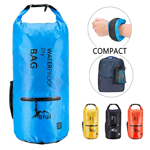 BFULL Waterproof Dry Bag 10L/20L [Lightweight Compact] Roll Top Water Proof Backpack with 2 Exterior Zip Pocket for Kayaking, Boating, Duffle, Camping, Floating, Rafting, Fishing (Top Kayak Package)