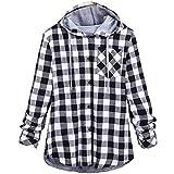 Clearance! iYBUIA Autumn Women's Simple Long Sleeve Plaid Hooded Cardigan Jacket Blouse(Gray,XXL)