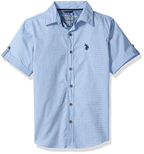 Lake Short Sleeve Shirt - U.S. Polo Assn. Little Boys' Short Sleeve Striped Sport Shirt, Fresh Water Blue Spring Lake, 5/6