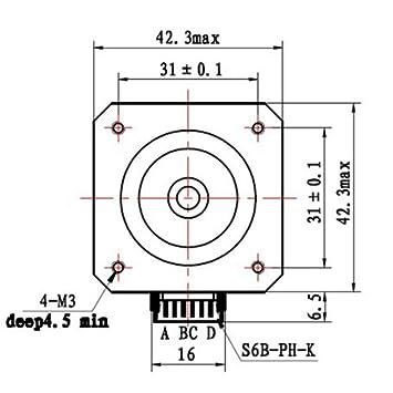 Hrph Nema 17 Stepper Motor 12v For Cnc 3d Printer Amazon Co Uk