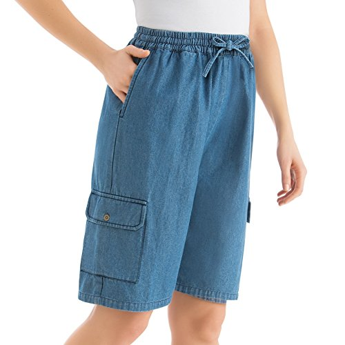 Womens Denim Bermuda Cargo Short