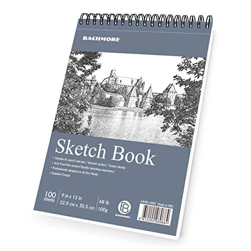 "Bachmore Sketchpad 9X12"" Inch (68lb/100g), 100 Sheets of TOP Spiral Bound Sketch Book for Artist Pro & Amateurs 