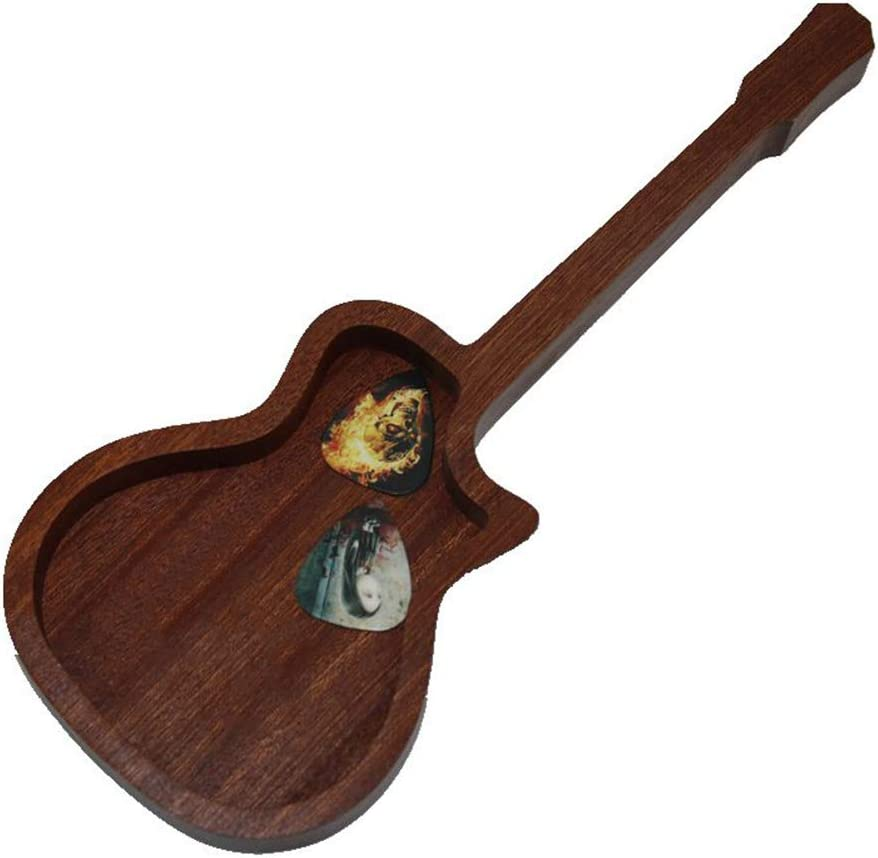 GAOJIAN Caja de púas de Madera de Guitarra Modelo de Guitarra acústica Caja de Almacenamiento Ga con Pick 2 Random Caja de Almacenamiento de Esquina faltante