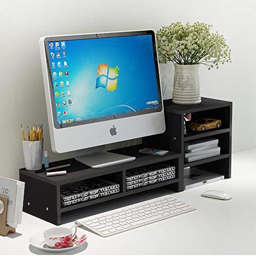 Jerry & Maggie - Wood Monitor Stand - 2 Parts Combination - Modern Dresser Shelf Unit Storage Desk Organizer Computer Stand Shelving - 2 Parts Multi Function Black