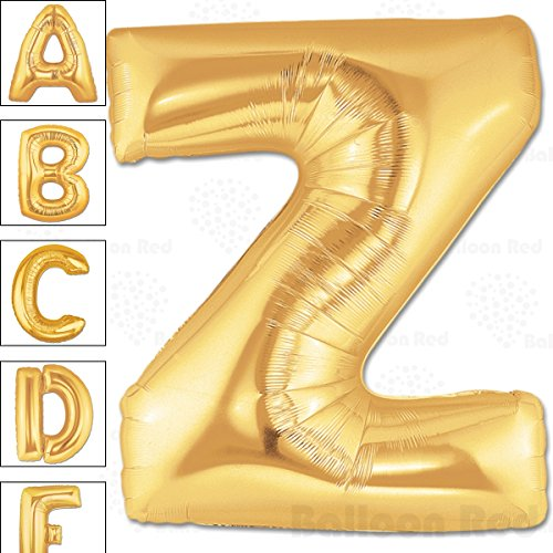 [40 Inch Giant Jumbo Helium Foil Mylar Balloons for Party Decorations (Premium Quality), Matte Gold, Letter Z] (Twins Day Costumes)