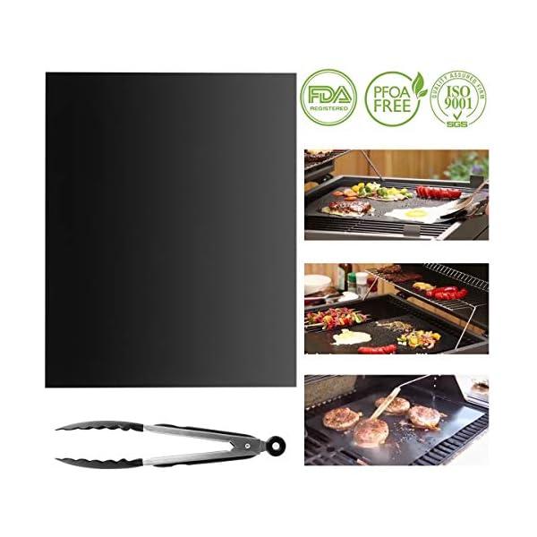 Yolispa - Tappetino per barbecue antiaderente per cottura a gas, carbone, forno e griglie elettriche, resistente al… 2 spesavip