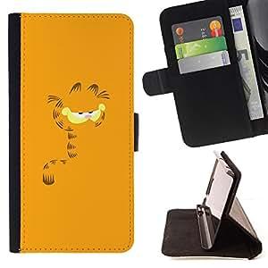 BullDog Case - FOR/Apple Iphone 6 / - / Cute Orange Fat Cat Garf /- Monedero de cuero de la PU Llevar cubierta de la caja con el ID Credit Card Slots Flip funda de cuer