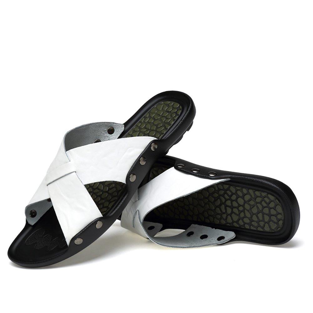 ZJM- Slippler de cuero Summer Beach Sandal Slippler Man Slippers de interior Fashion Leisure (Color : Blanco, Tamaño : 39) 39 Blanco