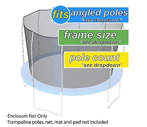 Nets For Trampoline Enclosures | By Trampoline Pro | Select Your Size | Select Your Existing Enclosure Style | NETS ONLY (Straight-Angled Poles, 12ft Frame - 6 poles)