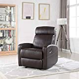 Best Chairs Rocker Recliners - Brown Faux Leather Rocking Recliner Lounge Chair Review