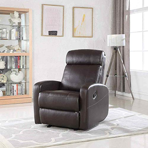 Brown Faux Leather Rocking Recliner Lounge Chair - Modern Overstuffed Ergonomic Lounger Chair, Comfortable Padded Seats for Living or Home Theater Room, Office Lounge Seating Rocker Recliners (Brown) (Chairs Recliner Overstuffed)