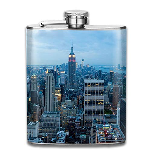 UBSOCKSG Perfect The Manhattan Skyline Stainless Steel Hip Flask 7 OZ - Sneak Alcohol Anywhere for Man,Woman