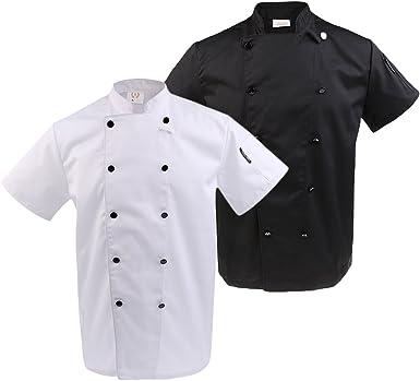 IPOTCH Unisex Camisa de Cocinero Traje de Trabajo de Cocina de Restaurante Hotel - Blanco negro, 2XL: Amazon.es: Ropa y accesorios
