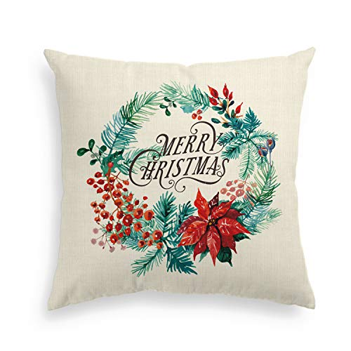 Artoid Merry Christmas Linen Decorative Throw Pillow Cover Case Flower Wreath | 18 x 18 Inch Holiday Winter Invisible Zipper Cushion Protector for Sofa Couch ()