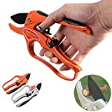 APRIL 14TH Professional Pruning Shears By Ratchet Mechanism, Sharp Tree Trimmers Secateurs Hand Pruner Clippers with Safety Lock - Great for Weak Hands (orange)