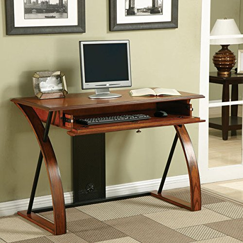 (Classic Elegant Stable Warm Oak Wood Desk with Keyboard Tray)