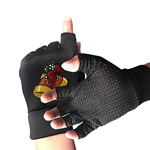 Unisex Fingerless Gloves Christmas Bells Sports Semi Half Finger Mittens for Cycling Climbing Fitness Computer Typing Daily Work