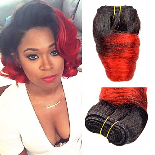 Black Friday Deals 2018 Bob Peruvian Loose Wave 4 Bundles 200g Wholesale Lots 12 Color Ombre Weave Spring Curly Wet And Wavy Human Hair Extensions (T1B/Red) (Best Black Friday Deals Deals)