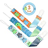 FLASH SALE - Liname Dummy Clip for Boys - 3 Pack - Premium Quality & Modern 2-Sided Design - Dummy Clips Fit all Dummies & Soothers - Perfect Baby Gift