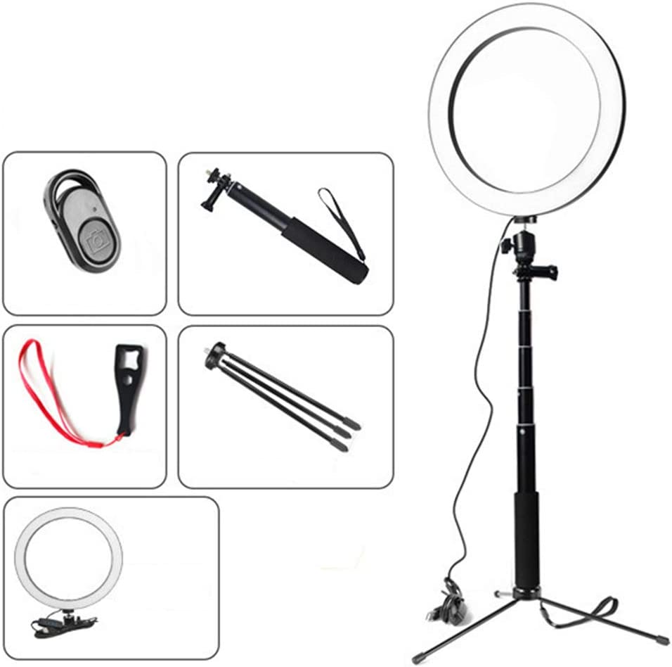 WenFei shop LED Ring Light,10 12W,Bi-Color Dimmable SMD Ring Flash with Selfie Remote Control Selfie Stick Table Tripod for Selfie YouTube Video Shooting and Photography
