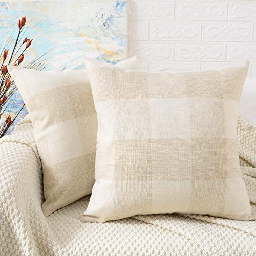 (MERNETTE Pack of 2, Plaid Cotton Linen Blend Decorative Square Throw Pillow Cover Cushion Covers Pillowcase, Home Decor Decorations for Sofa Couch Bed Chair 18x18 Inch/45x45 cm (Plaid Cream+White))