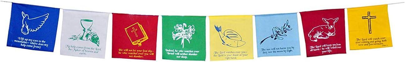 Christian Flag Church Decoration Bible Psalm 121 Faith Banner Worship Prayer Flags for Nursery Wall Wedding Bulletin Board Garden Décor by Mandala Crafts