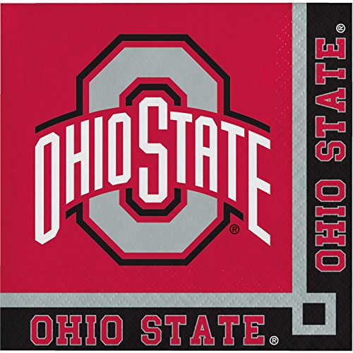 Club Pack of 240 Red and Black Ohio State University Disposable Beverage Napkins 5