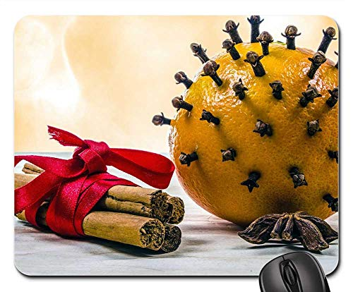 Mouse Pads - Clove Cinnamon Ornament Fruit Present Leaves