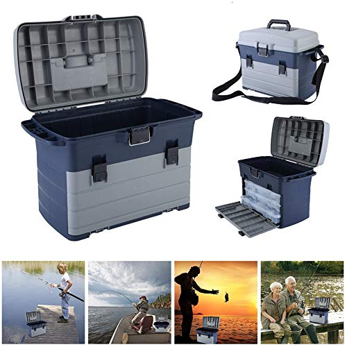 Ensteinberge Heavy Duty Fishing Tackle Box 3 Layers Removable Trays Storage Organizer Case Tool Fishing Accessories Lures Bait Storage Box by Ensteinberge (Image #4)