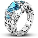 Fashion Jewelry 925 Silver Aquamarine Ring Women Wedding Bridal Gifts New Sz6-10 (10)