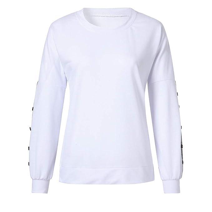 Luckycat Las Mujeres Casuales botón a Cuadros de Manga Larga Pullover Blusa Camisas Sudadera: Amazon.es: Ropa y accesorios