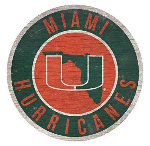Fan Creations Miami Hurricanes Sign Wood 12 Inch Round State Design (Hurricanes Miami Sign)
