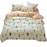 HIGHBUY Soft Cotton Girls Full Bedding Sets with Zipper Closure Reversible Cactus Print Duvet Cover Sets Queen for Children Boys Hypoallergenic Queen Comforter Cover Reversible