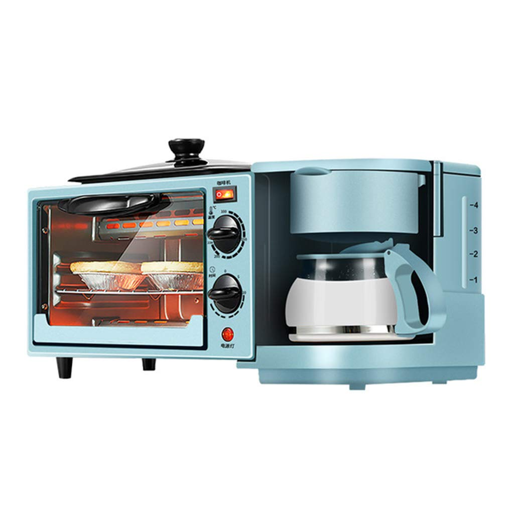 NOKUN Family Three-in-One Retro Breakfast Machine, Toaster Oven Dry Pan Three-in-One Multi-Function Breakfast Center, Regular, Blue by NOKUN